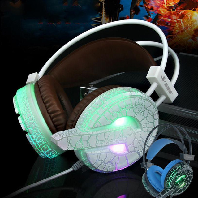 $ Number colores USB 3.5mm Grieta Gaming Wired LED Luminoso buen juego headfone casque Auricular Auriculares w/MICRÓFONO Para pc Gamer chat