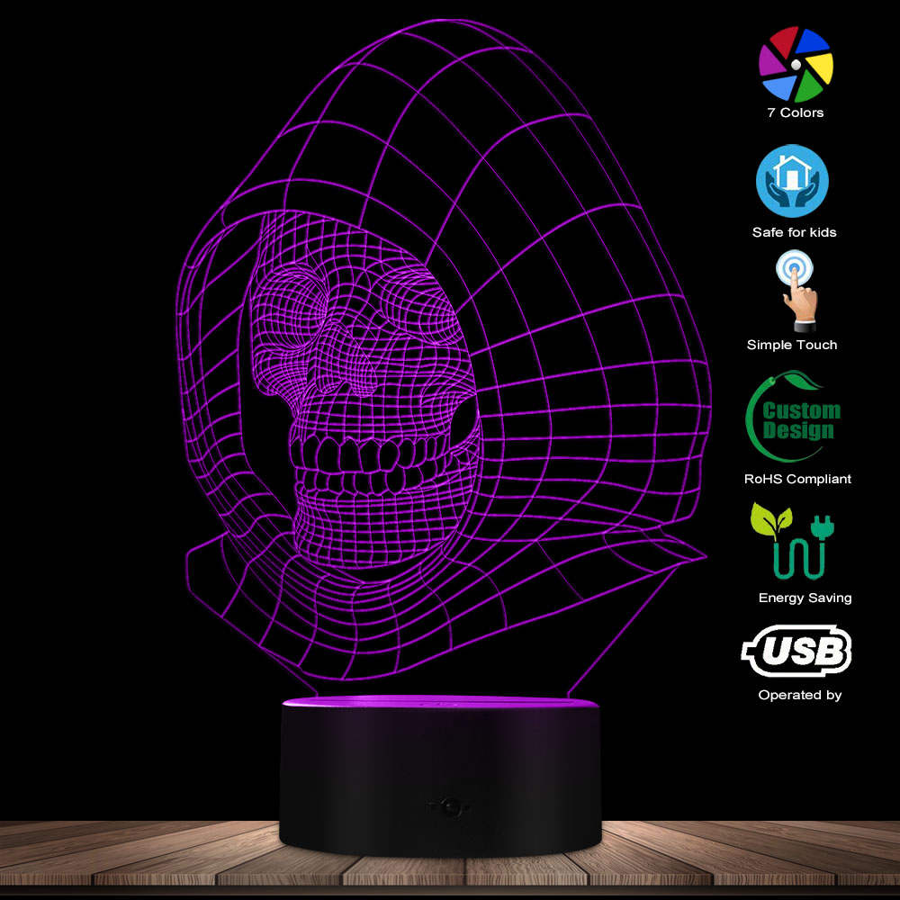 Halloween Skeleton Sculpture LED Novelty Art Light Visual Lamp Skull In Cap Desk USB Optical Illusion Lamp Handmade Night Lights