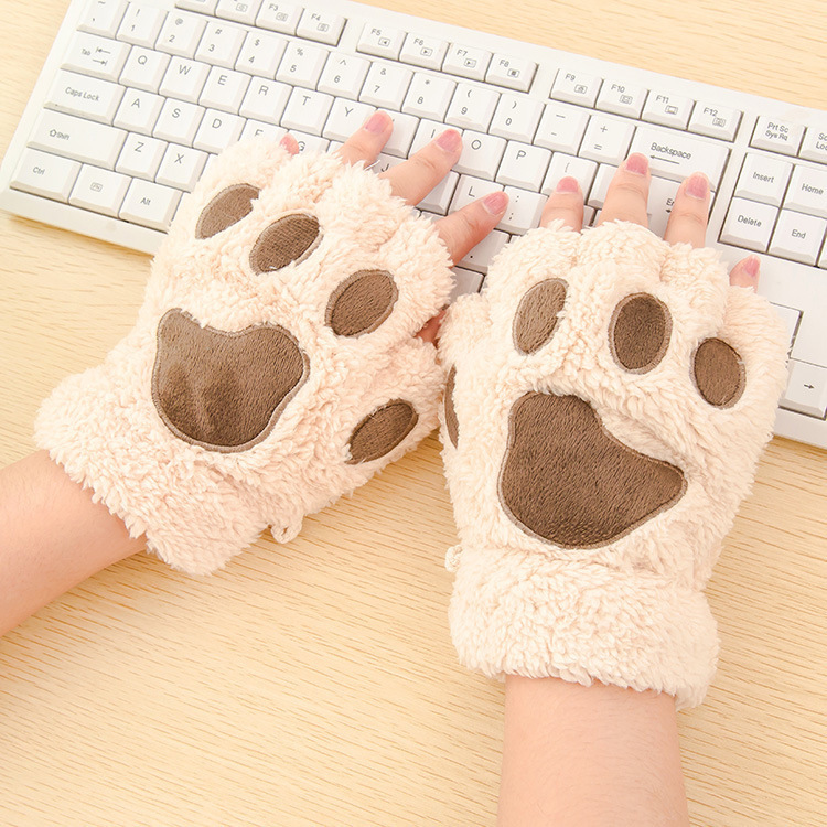 Ladies Warmth Fingerless Plush Glove Fluffy Bearr Claw / Cat Animal Paw Soft Warm Lovely Cute Women Half Finger Covered Gloves