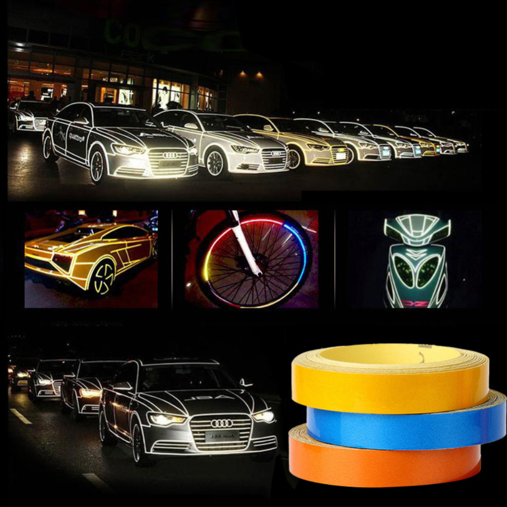 Bicycle Accessories 1cm*5m Reflective Bicycle Stickers Adhesive Tape For Bike Safety White Red Yellow Reflective Bike Stickers