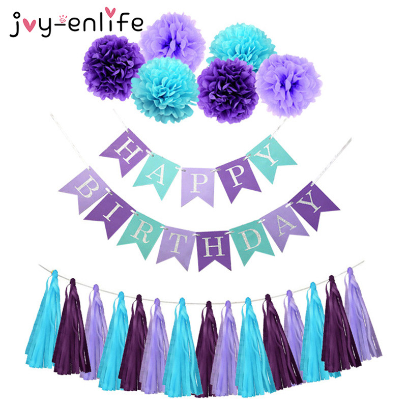 JOY-ENLIFE Mermaid Theme Birthday Decor Paper Flower Ball Tassels Boy Girl Happy Birthday Banner Baby Shower Kids Party Supplies