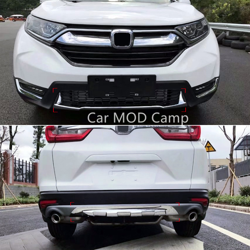 цена на For Honda CRV CR-V 2017 2018 ABS Chrome Front & Rear Bumper Skid Protector Guard Cover Trim 2pcs Car Styling accessories!