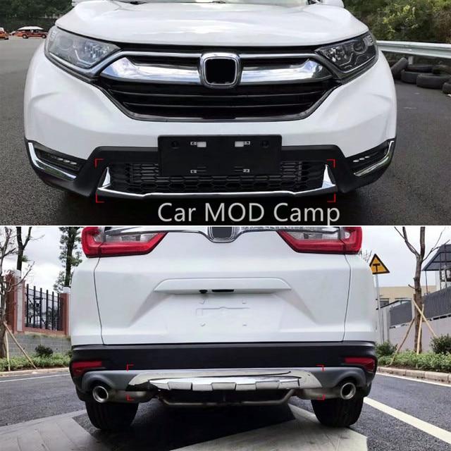 For Honda CRV CR V 2017 2018 ABS Chrome Front & Rear Bumper Skid Protector Guard Cover Trim 2pcs ...