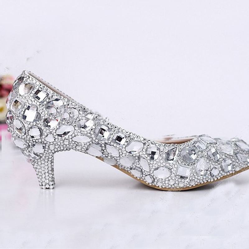Y Crystal Wedding Dress Shoes 2 Inches Middle Heel Comfortable Bridal Silver Woman Party Prom Bridesmaid In Women S Pumps From On