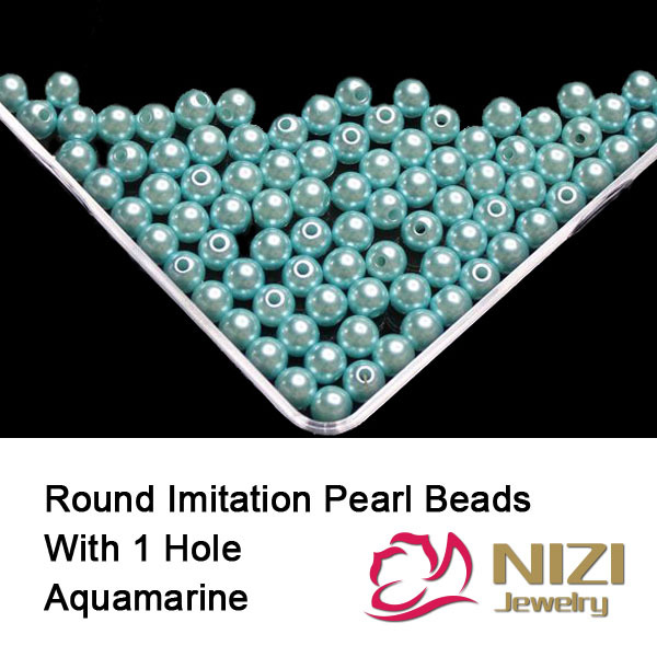 Round Pearl Beads Aquamarine Color Resin Round Pearl Beads With Hole 18g/bag Perfect For Chothes And DIY Decoration Many sizes