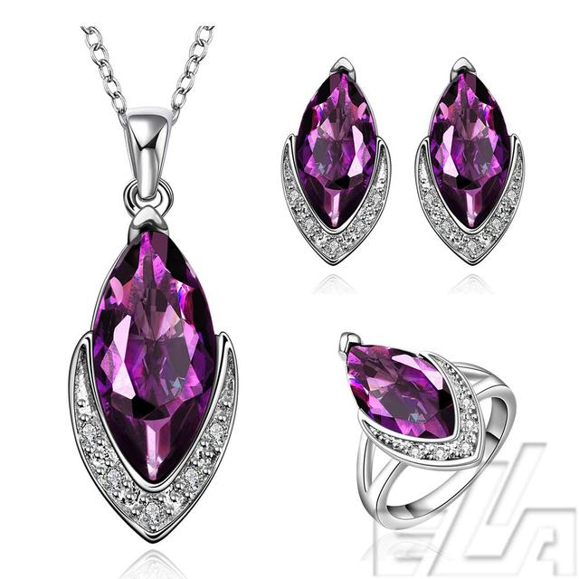New arrival real gold plated jewelry with Oval purple CZ crystals simulated diamond