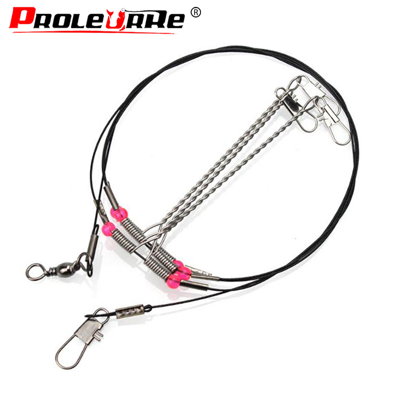Proleurre Stainless Steel Fishing Rigs Wire Leader Rope Line Swivel String Hooks Balance Bracket Fishing Tackle Accessories