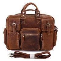 Augus Imported Crazy Horse Leather Bag Multi Pockets Handbag For Men Large Capacity Vintage Laptop Bag Brown Red 7028B 1