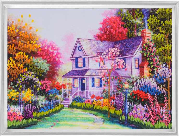 NeedleworkDIY Ribbon Cross Stitch Sets For Embroidery Kit Pretty Flower Cottage House Handcraft Wall Home Decor In Package From Garden