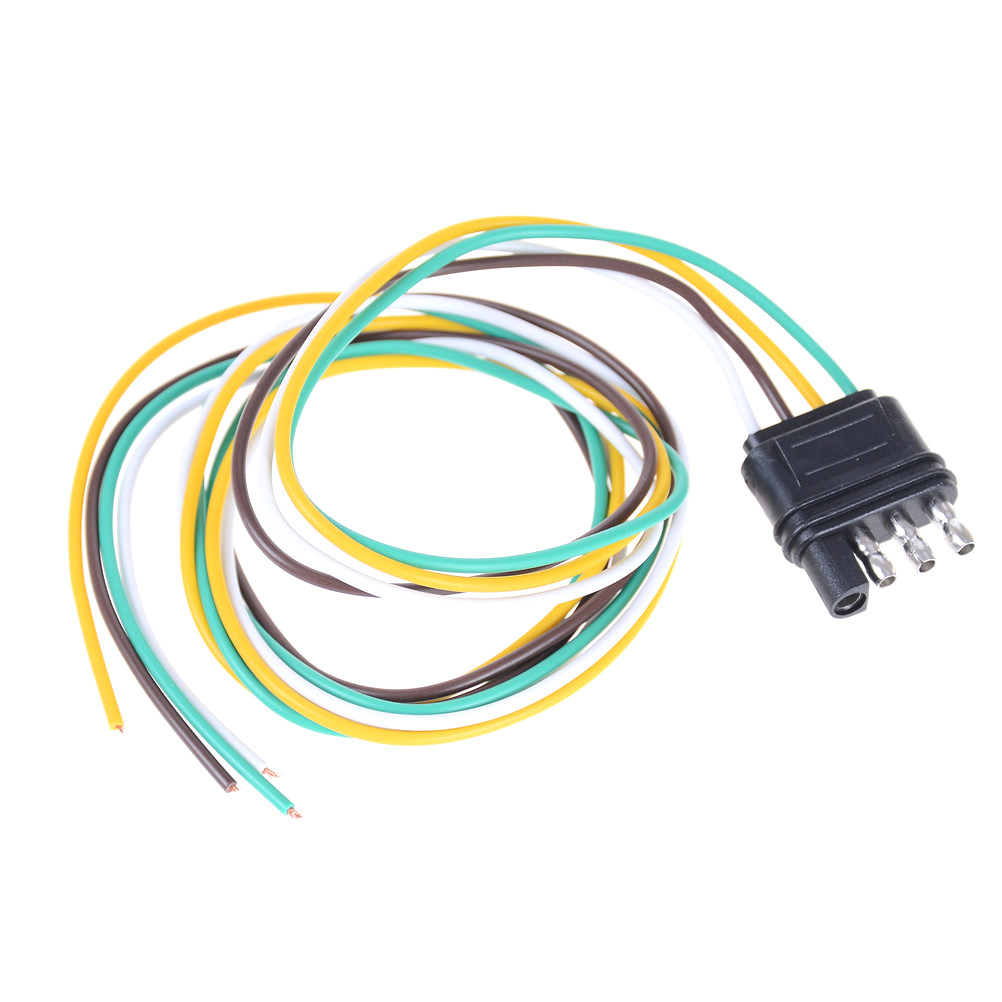 hight resolution of 1pcs new trailer light wiring harness extension 4 pin plug 18 awg flat wire connector trailer male plug 90cm 2 95ft