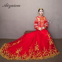 2018 New Chinese Style Wedding Qipao Dresses Elegant Bride Red Trailing Wedding Dress Cheongsam Kimono Female Toast Costume