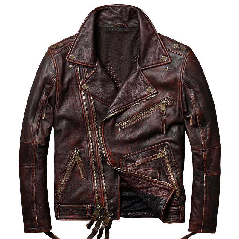 New Arrival Man Real Leather Motorcycle Jackets 100% Genuine Cow Leather Cycle Leather Coats For Man(China)