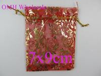 OMH wholesale 50pcs 7x9cm red roses jewelry Packaging Christmas Wedding Organza voile gift bag BZ101