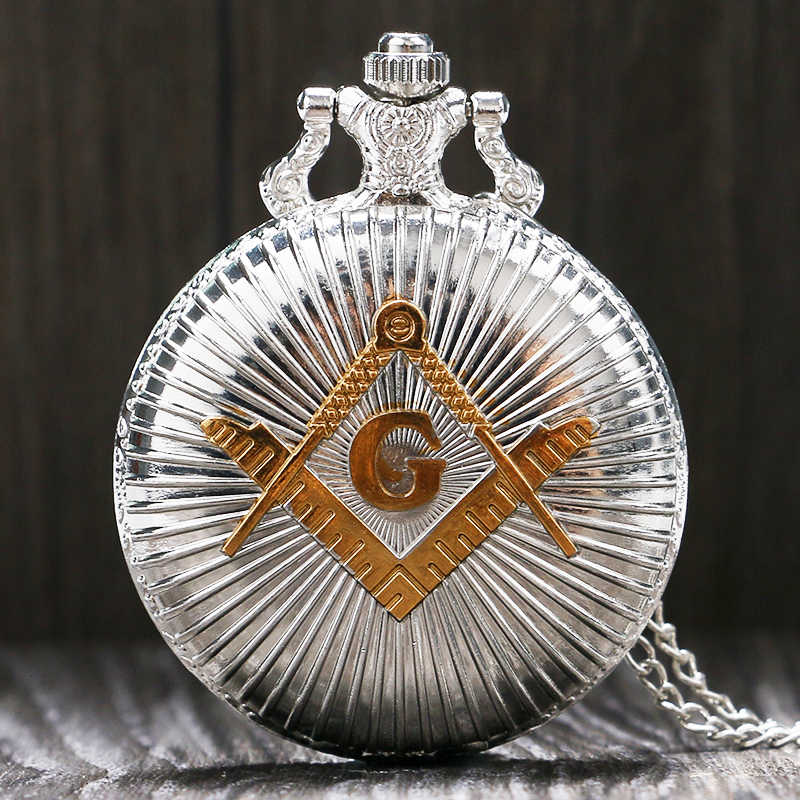 Cool Silver & Golden Masonic Freemason Freemasonry Theme Alloy Quartz Fob Pocket Watch With Necklace Chain Free Drop Shipping