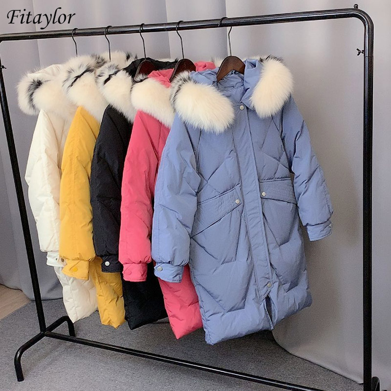 Fitaylor New Large Natural Raccoon Fur   Down   Winter Jackets Women Hooded White Duck   Down     Coat   Female Warm Snow Outwear