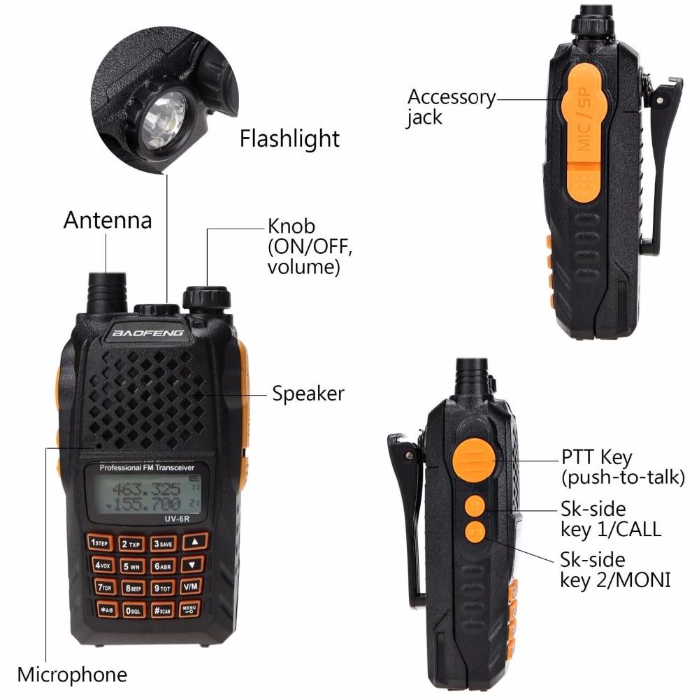 2pcs Baofeng UV-6R Walkie Talkie 7 watts Dual band Two Way Radio Pofung UV6R  HF Transceiver telsiz UV 6R Ham cb Radio station 3