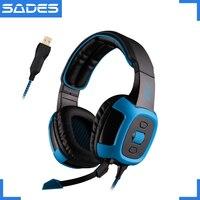 Função de Vibração Shaker Virtual 7.1 Surround Sound Headset SADES Fones De Ouvido USB Over-ear fone de ouvido para Gamer