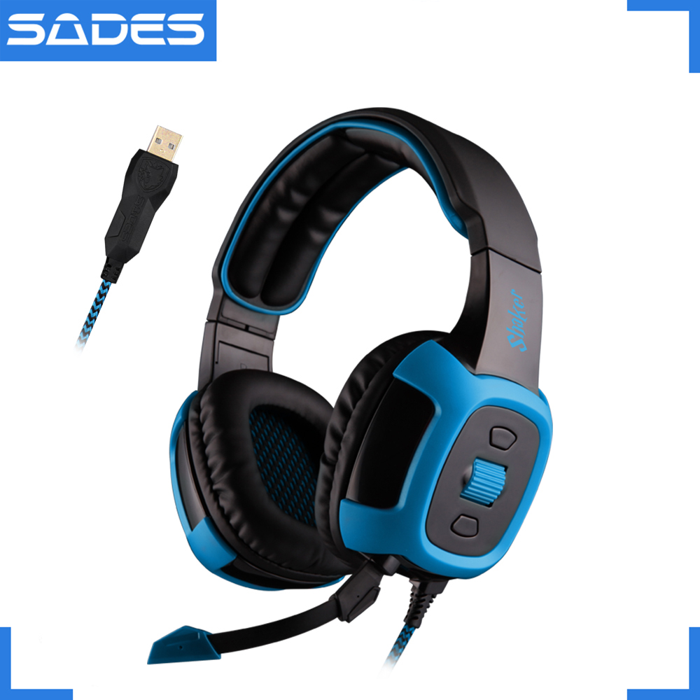 SADES Shaker Virtual 7.1 Surround Sound Headset Vibration Function Headphones USB Over-ear earphone for Gamer each g8200 gaming headphone 7 1 surround usb vibration game headset headband earphone with mic led light for fone pc gamer ps4