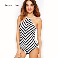 Seven Joe Women Striped One piece Swimsuit bikini brand high qualitystripe women swimwear swimsuit brazilian push up monkini set