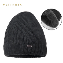 VEITHDIA Winter Hat Men Knitted Beanies Warm Bonnet Caps Baggy Brand Solid Thicken Fur Winter Hats For Men Women Wool Skullies