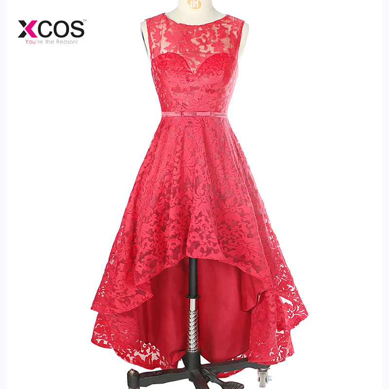 Red Lace High Low Bridesmaid Dress Scoop Neck Formal Wedding Party Gown
