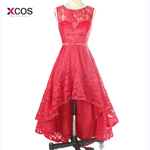 цена на Red Lace High Low Bridesmaid Dress Scoop Neck Formal Wedding Party Gown