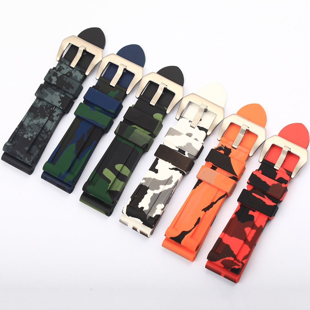 Camouflage Colorful Fashion Rubber Watchband For Men Watch Strap Black,Blue,Green,Orange,White,Red Watch Belt 26mm 22mm 24mm