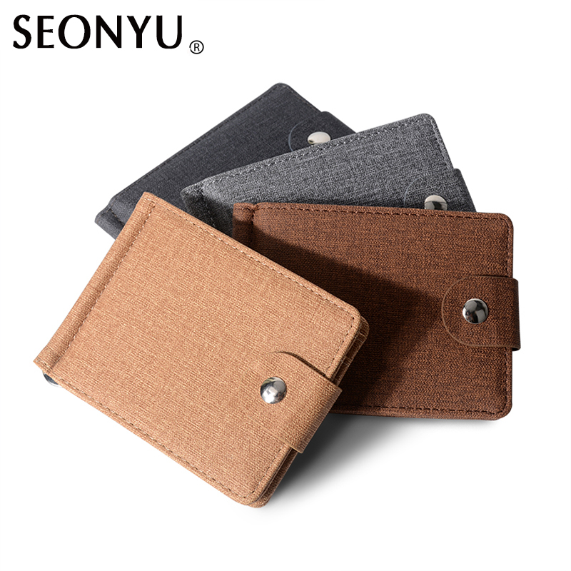 Wallet Men Canvas Money Clips powerfull mini purse vintage brown grey small male cultch card holders men wallet wholesale price  wallet