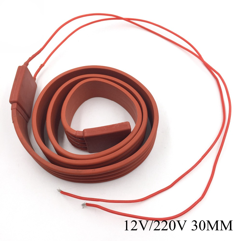 30MM 12V~220V Waterproof Flexible Silicone Rubber Heater Heating Belt Cable Silica Gel For Pipeline Electrical Wire Car Battery 50mmx6m 900w 220v silicone heater flexible heating element silicon rubber waterproof cable heating pipeline heater band