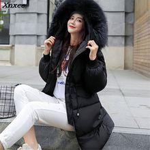 цены 2018 New Women Winter Coat Fashion Female Big Fur Collar Duck Parkas Jacket Thick Warm Elegant Coat Slim Wadded Jacket