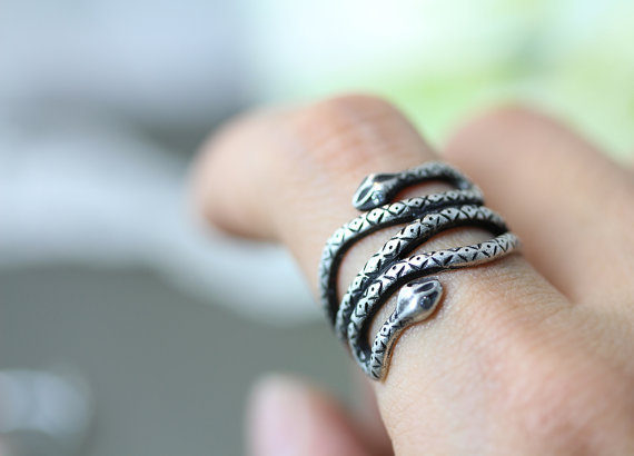 Retro Double Head Snake Ring Animal Adjustable Ring Jewelry Free Size gift idea