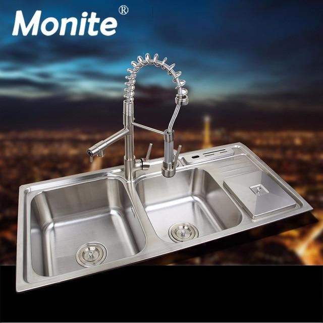 Monite Edelstahl Spulbecken Schiff Set Wasserhahn Doppel Waschbecken