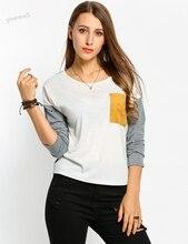 Spring Autumn Women Patchwork Pullover T-shirt O-Neck Drop-Shoulder Long Sleeve Asymmetrical Pocket Tops Women Casual Shirt