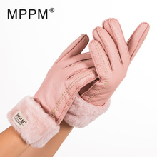 Russian winter Women's Gloves 100% Real Leather Sheepskin Winter Gloves Hot Warm Stylish Full Finger Ladies Gloves Mittens