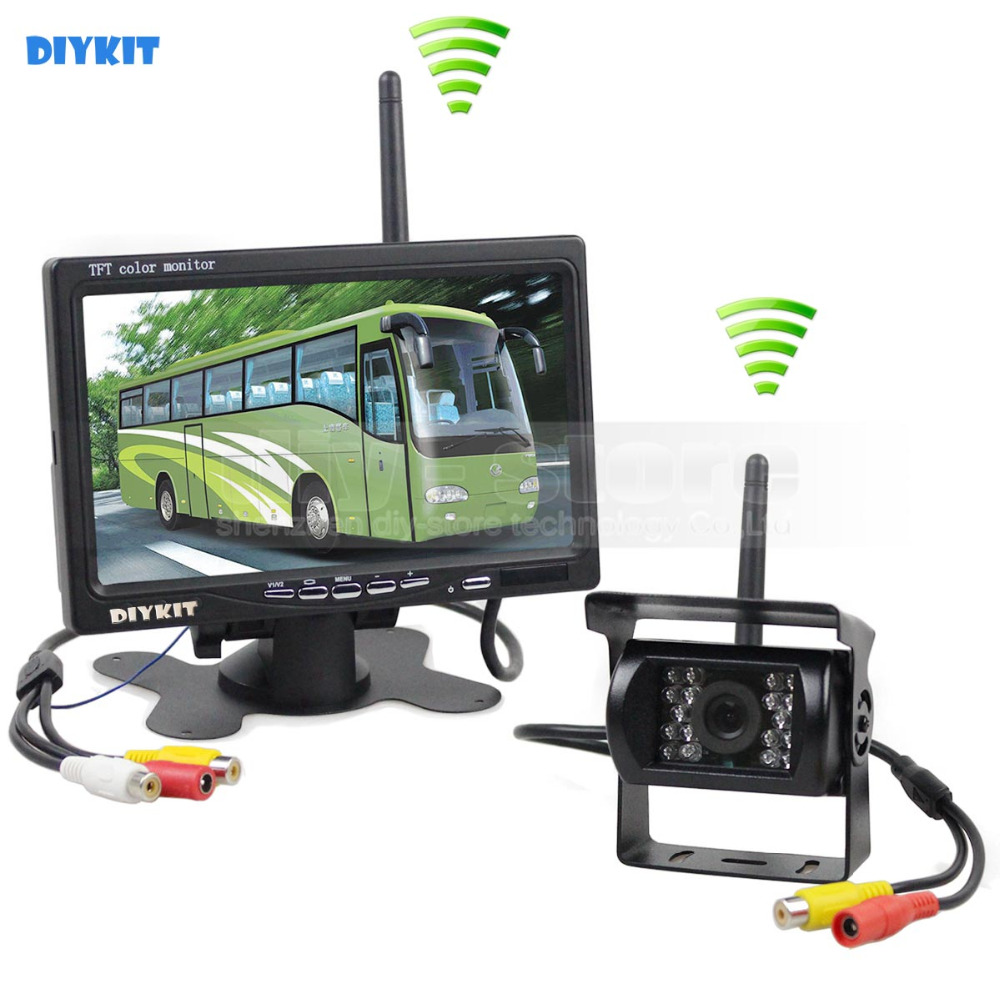 DIYKIT Wireless Transmission HD 800 x 480 7inch Car Monitor IR CCD Rear View Backup Camera for Car Bus Truck Caravan Trailer RV diysecur 4pin dc12v 24v 7 inch 4 split quad lcd screen display rear view video security monitor for car truck bus cctv camera