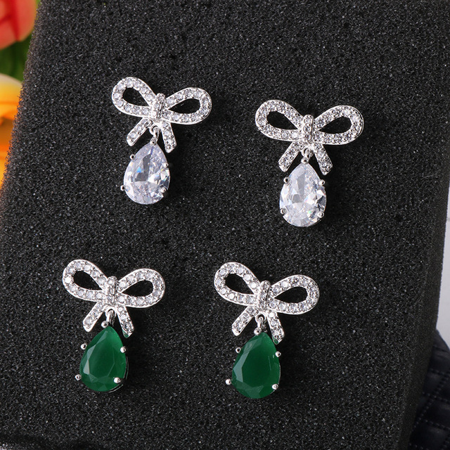 f6be3d9b8379 Luxury Aretes Teardrop Brincos Knot Earrings Austrian Clear CZ Earring for  Women Fashion Party Elegant Stud