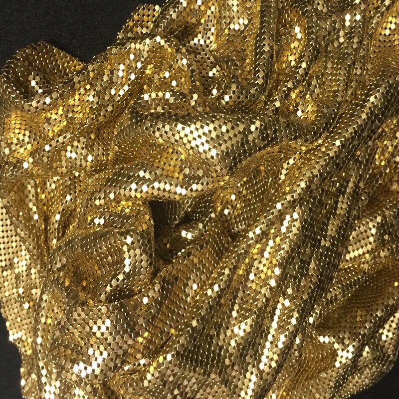 50x42cm 3mm Metal Mesh Fabric Metallic Cloth Metal Sequin Sequined Fabric Curtain Square Gold