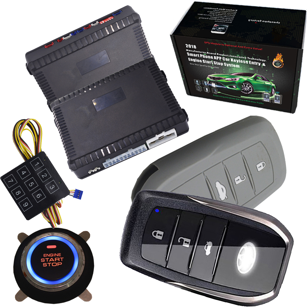 new car auto alarm Engine start Push Button Start Stop ignition system passive Keyless Entry with gps gsm tracker output passive car alarm with auto central lock unlock car door automotive engine start stop system gps output push engine start stop
