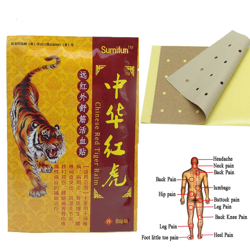 80pcs/lot Pain Relief Plaster Red Tiger Chinese Medical Patch Arthritis Relief Medical Neck Muscle Massager Orthopedic Plaster 64pcs 8bags smfcare chinese plaster medical pain relief patch tens foot muscle back neck shoulder body massager k00908