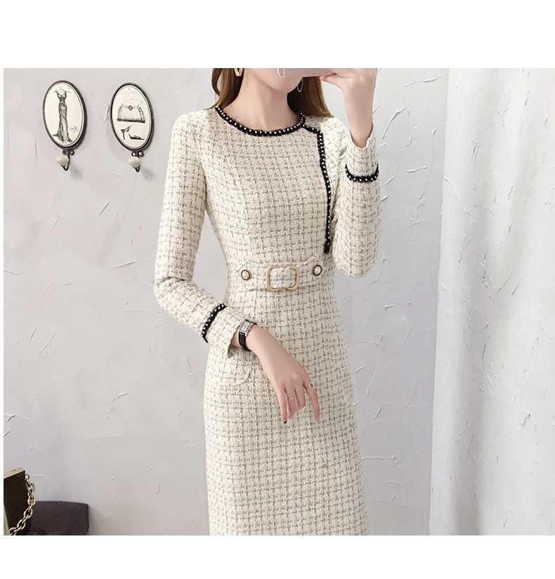 2019 New Tweed Dress Women Spring Vintage Wool Plaid Dresses Female Elegant Woolen Dress Ladies Office Vestidos 24