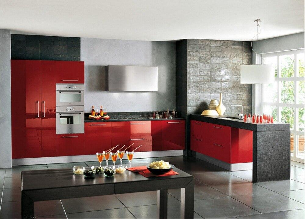 ventas calientes high gloss laca gabinetes de cocina de color rojo moderno muebles de cocina l pac