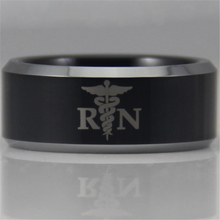Free Shipping YGK JEWELRY Hot Sales 8MM Registered Nurse Design New Black Tungsten Comfort Fit Ring