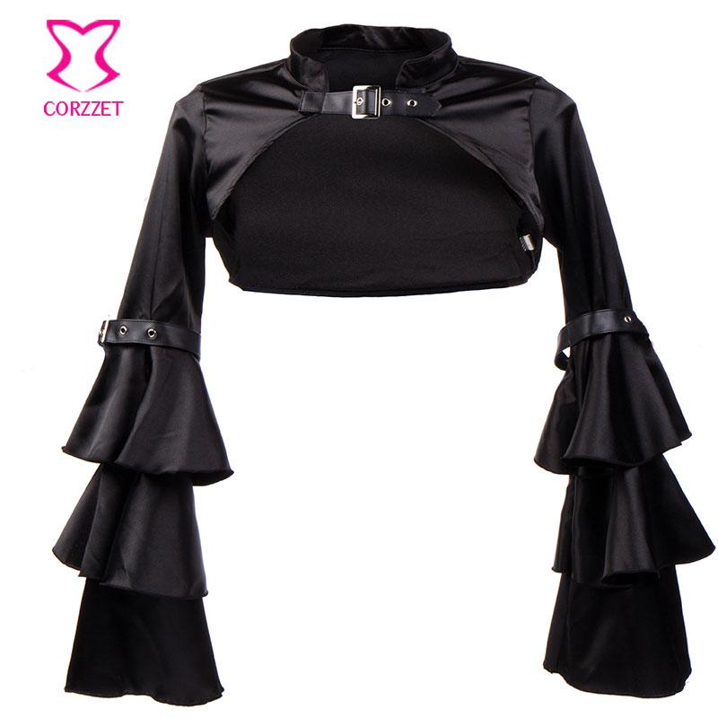Corzzet Vintage Черно Сатен Готик Късо яке с - Дамски дрехи