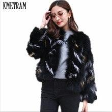 KMETRAM Fashion New Women Warm Real Fox Fur Coat Short Winte