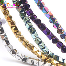 6MM 65pcs/lot Square cut surface metal mixed color AAA quality Natural Hematite Stone beads DIY Necklace Jewelry Making OlingArt