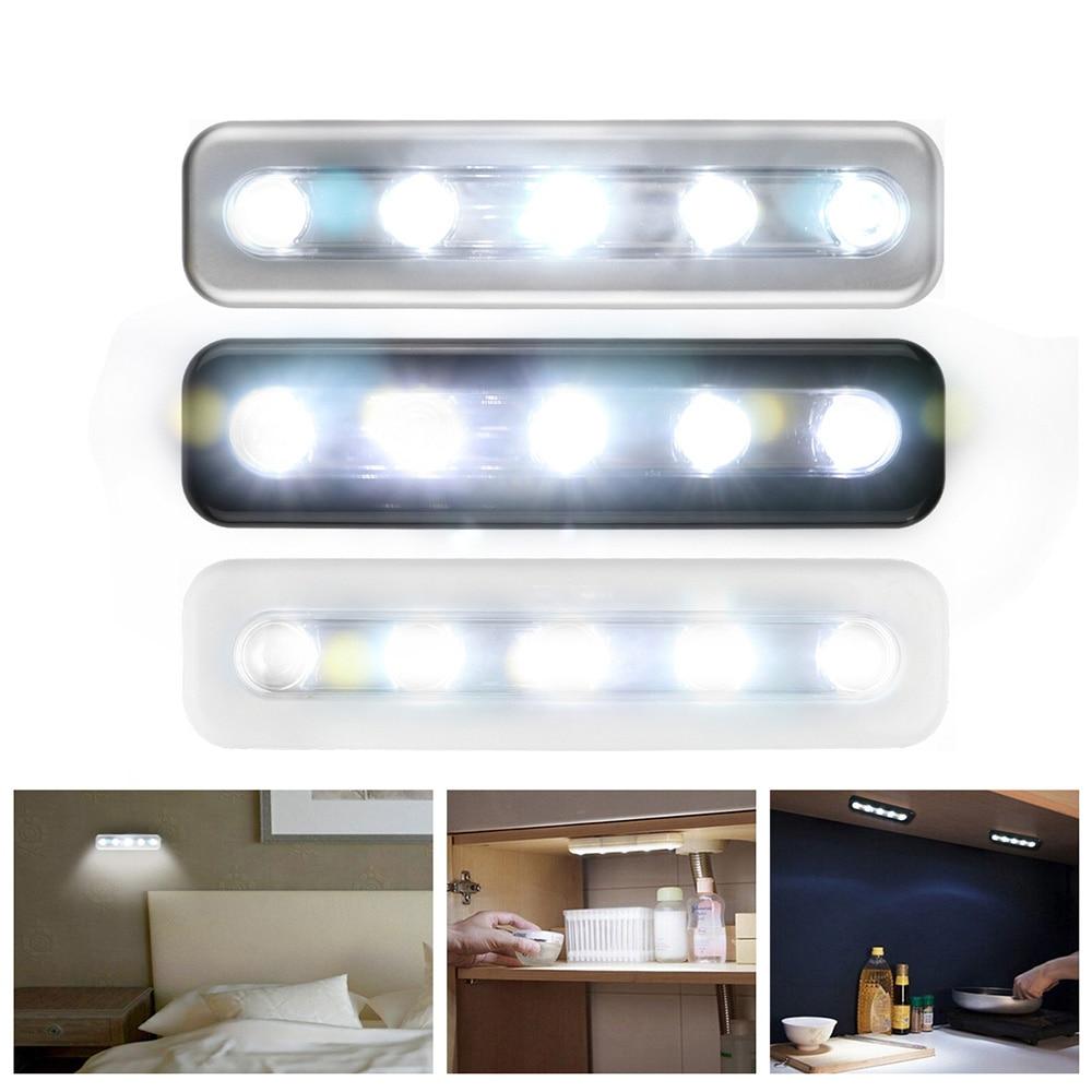 mini draadloze 5 led nachtverlichting closet lamp draadloze muur licht batterij home verlichting voor onder keukenkastjes in mini draadloze 5 led