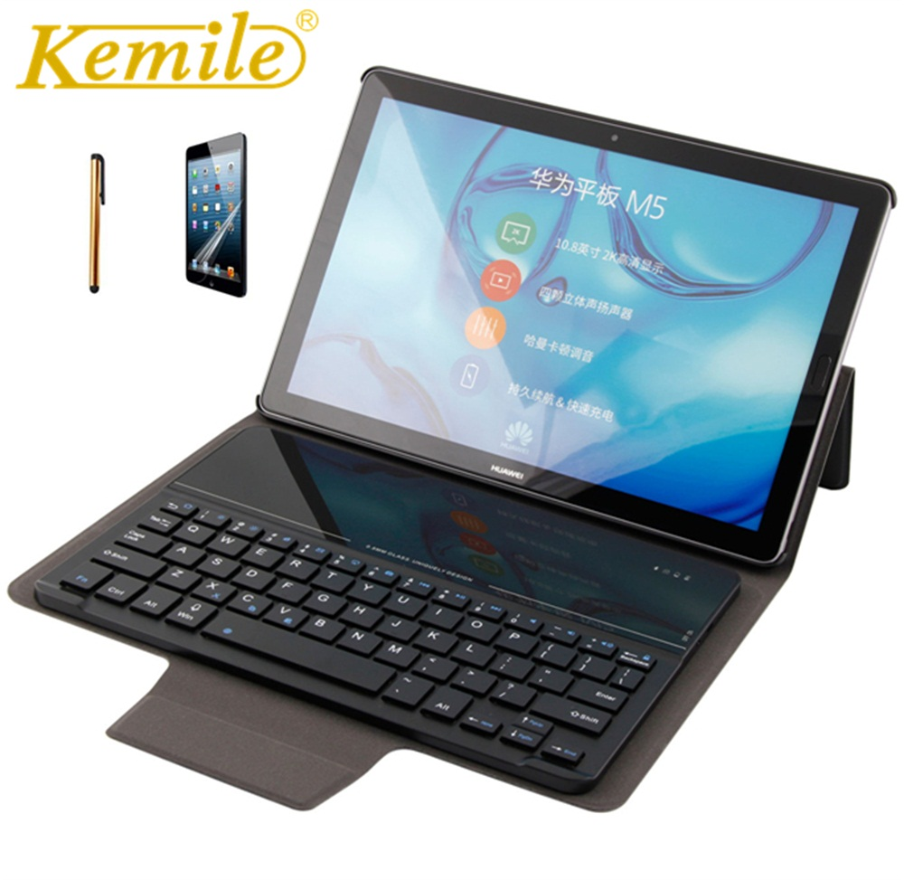Kemile Case For Huawei MediaPad M5 10.8 Glass Wireless 3.0 Bluetooth Keyboard Smart Stand Cover For Huawei MediaPad M5 10.8 Case silicone with bracket flat case for huawei mediapad m5 8 4 inch