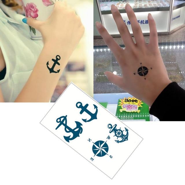 Bule Black Anchors Flash Tattoo Hand Sticker 10.5x6cm Small Waterproof Henna Beauty Temporary Body Tattoo Sticker