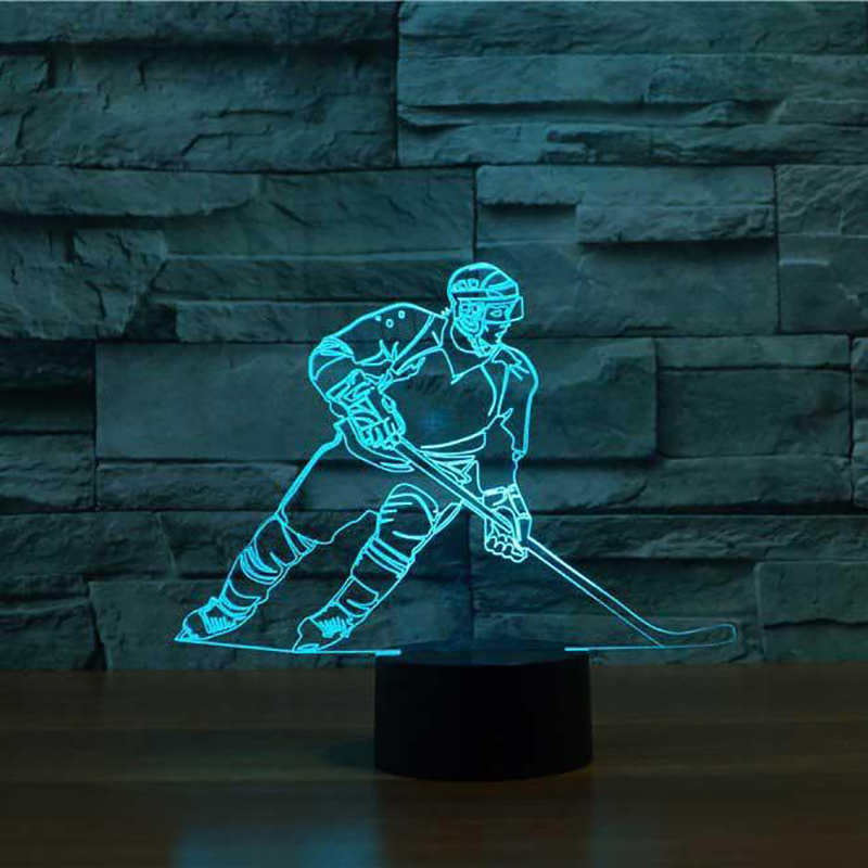 3D LED Ice Hockey Player Table Lamp USB Visual Luminaria Bedside Night Light For Kids Gifts Baby Sleeping Lighting Sports Decor