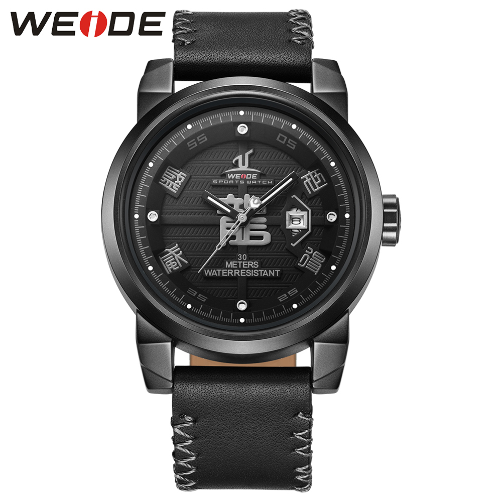 WEIDE Black Leather Strap Watch for Men Analog Display Waterproof Quartz Clock Casual  Wrist Watch Male Relogio Chinese drago weide black watch men casual leather strap quartz yellow dial analog display water resistant big fashion high quality male clock